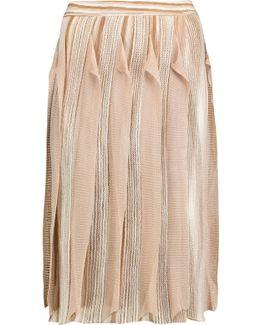 Ruffled Crochet-knit Wool-blend Skirt