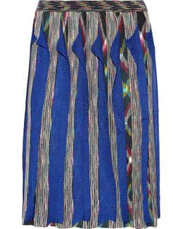 Wrap-effect Ruffled Crochet-knit Wool-blend Skirt