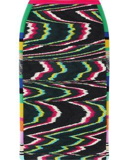Paneled Printed Wool-blend Skirt