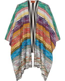 Reversible Metallic Crochet-knit And Wool-blend Cape