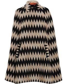 Crochet-knit Wool-blend Cape