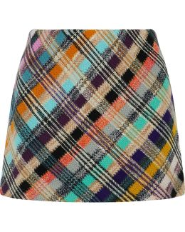 Crochet-knit Wool-blend Mini Skirt