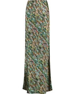 Printed Silk-blend Satin Maxi Skirt