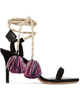 Aura Lace-up Leather-trimmed Suede And Cord Sandals