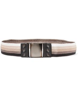 Striped Stretch-canvas And Leather Belt