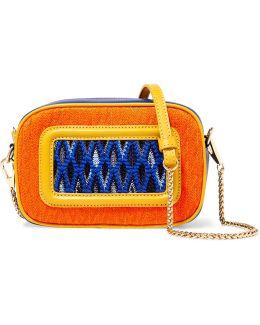 Paneled Crochet-knit And Leather Shoulder Bag