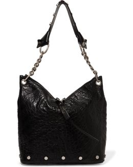 Raven Studded Textured-leather Tote