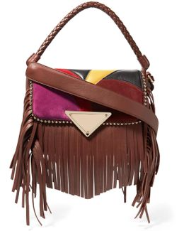 Amber Fringed Studded Suede And Leather Shoulder Bag