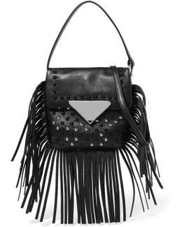 Fringed Studded Leather Shoulder Bag