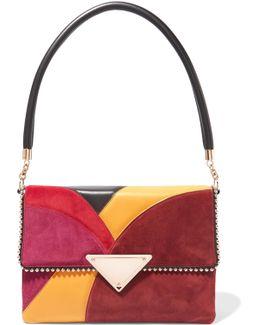 Stud-embellished Paneled Leather And Suede Shoulder Bag