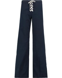 Lace-up Cotton-blend Twill Wide-leg Pants