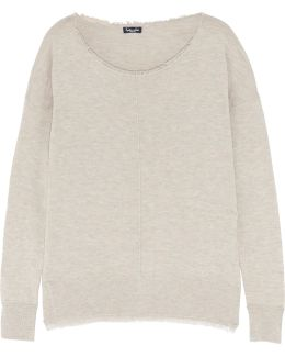 Frayed Marled Knitted Sweater