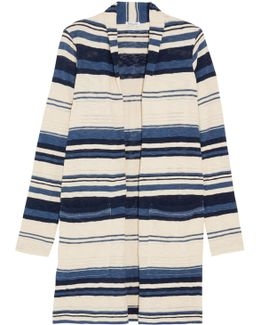 Striped Slub Cotton Cardigan
