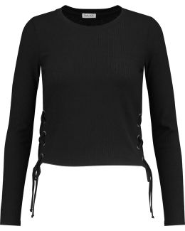 Lace-up Ribbed Jersey Top