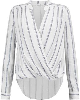 Wrap-effect Brushed Striped Jersey Top