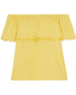 Off-the-shoulder Frayed Supima Cotton And Micro Modal-blend Jersey Top