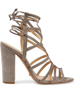 Loriana Cutout Suede Wedge Sandals
