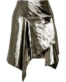 Nael Asymmetric Silk-blend Lamé Wrap Mini Skirt