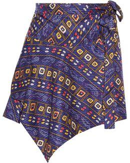 Tosi Asymmetric Printed Silk Mini Skirt