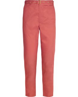 Cotton-poplin Straight-leg Pants