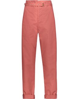 Nesto Belted Cotton-poplin Straight-leg Pants