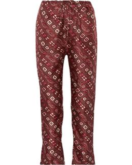 Trina Printed Silk-twill Tapered Pants