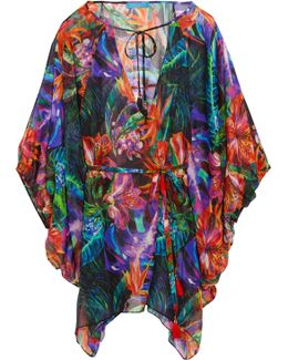 Draped Floral-print Coverup