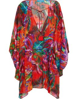 Draped Floral-print Silk-chiffon Coverup
