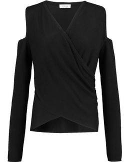 Cold-shoulder Wrap-effect Silk And Cashmere-blend Sweater