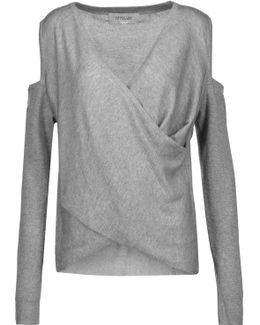 Wrap-effect Cold-shoulder Silk And Cashmere-blend Sweater