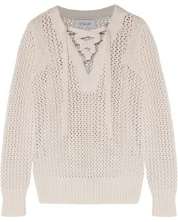 Lace-up Open-knit Cotton Sweater