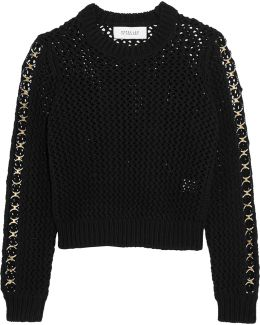 Embellished Cropped Open-knit Cotton Sweater