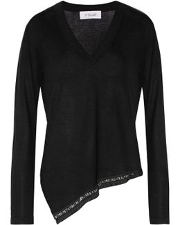Asymmetric Embellished Silk And Cashmere-blend Sweater