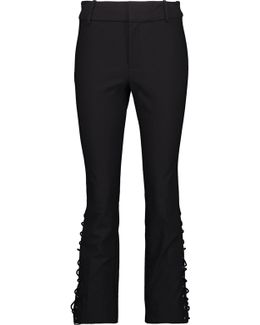 Cropped Lace-up Stretch-cotton Twill Bootcut Pants
