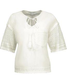 Crochet Knit-paneled Cotton-poplin Top
