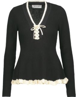 Flounce Sweater With Lacing