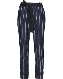 Belted Striped Twill Tapered Pants