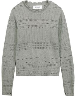 Open Knit-trimmed Cotton-jersey Sweater