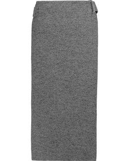 Wrap-effect Wool-blend Midi Skirt