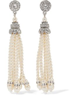 Silver-tone Crystal And Faux Pearl Earrings