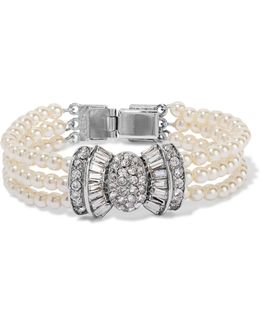 Silver-tone Faux Pearl And Crystal Bracelet