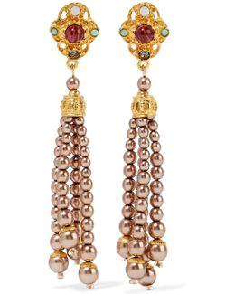 Gold-plated Faux Pearl, Bead, Crystal And Stone Earrings