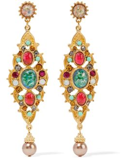 Gold-plated Crystal, Stone And Faux Pearl Earrings