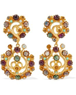 Gold-plated Stone And Crystal Clip Earrings