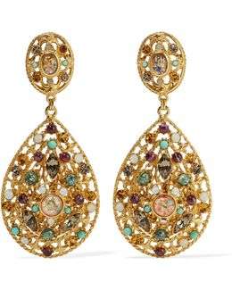 Gold-plated Crystal And Stone Clip Earrings
