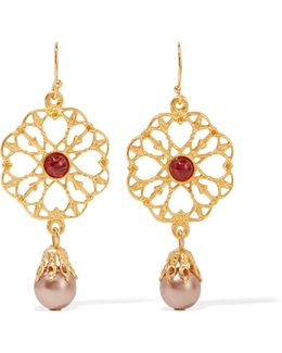 Gold-plated Stone And Faux Pearl Earrings