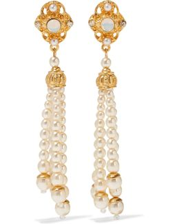 Gold-plated Faux Pearl, Stone And Crystal Earrings