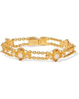 Gold-plated Faux Pearl, Stone And Crystal Bracelet