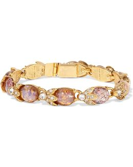 Gold-tone, Crystal And Stone Bracelet