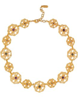 Gold-plated Crystal And Bead Necklace